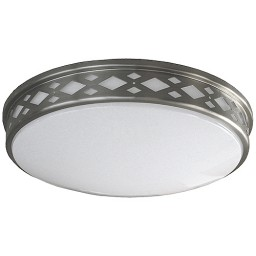 "LED 17"" diamond lattice satin nickel round ceiling surface light flush mount warm white 3000K dimmable LED-JR003DNKL"