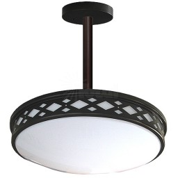 "LED 17"" diamond lattice bronze round pendant ceiling surface light flush mount warm white 3000K dimmable LED-JR003P1BZ"