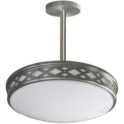 "LED 17"" diamond lattice satin nickel round pendant ceiling surface light flush mount warm white 3000K dimmable LED-JR003P1NKL"