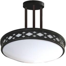 "LED 17"" diamond lattice bronze round 3 rod pendant ceiling surface light flush mount warm white 3000K dimmable LED-JR003P3BZ"