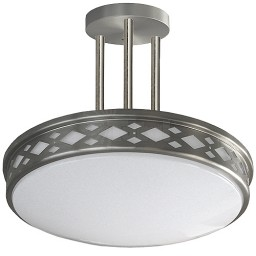 "LED 17"" diamond lattice satin nickel round 3 rod pendant ceiling surface light flush mount natural white 4000K dimmable LED-JR003P3NKL"