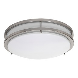 "LED 17"" two ring satin nickel ceiling surface light flush mount cool white 4000K dimmable LED-JR003NKL"