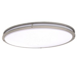 "LED 32"" x 18-1/4"" oval two ring satin nickel ceiling surface light flush mount warm white 3000K dimmable LED-JR005NKL"