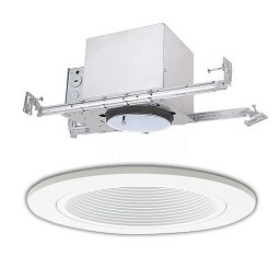 "4"" Line voltage recessed new construction white trim kit"