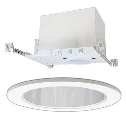 """4"""" Low voltage recessed new construction chrome reflector white trim kit"""