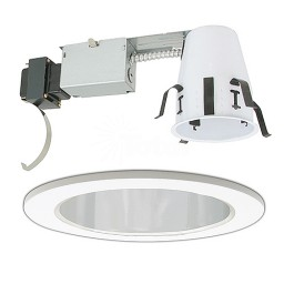"4"" Low voltage recessed remodel chrome reflector white trim kit"