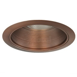 "6"" Recessed lighting air tight bronze stepped baffle trim"