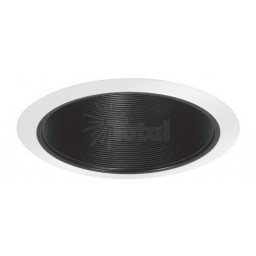 "6"" Recessed lighting air tight black stepped baffle white trim"