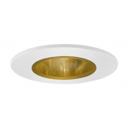 "2"" Recessed lighting gold reflector white shower trim"