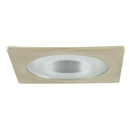 "3"" Low voltage recessed lighting clear chrome reflector semi-frosted glass satin square shower trim"