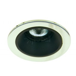 "4"" Low voltage recessed lighting black baffle polished brass trim"