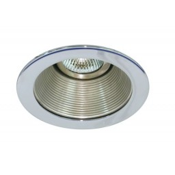 "4"" Low voltage recessed lighting satin baffle chrome trim"