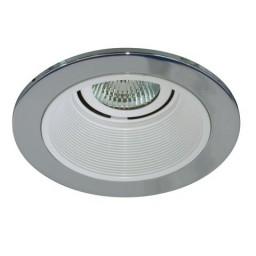 "4"" Low voltage recessed lighting white baffle chrome trim"