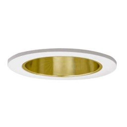 """4"""" Low voltage recessed lighting clear lens gold reflector white shower trim"""