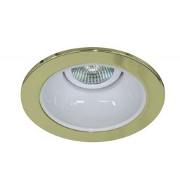 """4"""" Low voltage recessed lighting white reflector polished brass trim"""