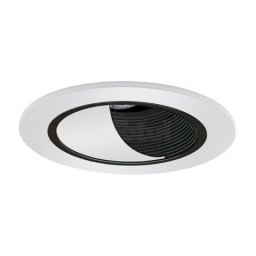 "4"" Low voltage recessed lighting adjustable black baffle white wall wash trim"