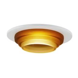"6"" Low voltage recessed metropolitan stepped amber glass white trim"