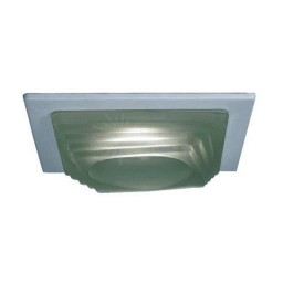 "4"" Low voltage recessed lighting designer frosted step glass white square trim"