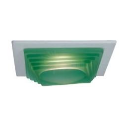 "4"" Low voltage recessed lighting designer green step glass white square trim"