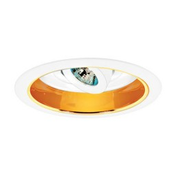 "6"" Low voltage recessed adjustable specular gold reflector white regressed eyeball trim"