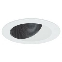 "4"" Recessed lighting black baffle white wall wash trim"