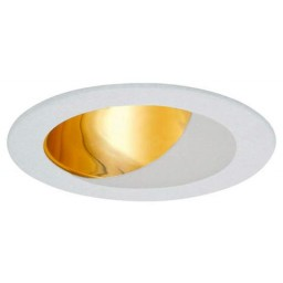 """4"""" Recessed lighting specular gold reflector white wall wash trim"""