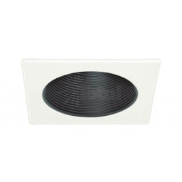 "4"" Recessed lighting black metal stepped baffle white square trim with socket bracket"