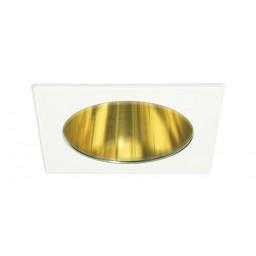 "4"" Recessed lighting specular gold reflector white square trim"
