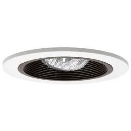 "4"" Recessed lighting adjustable socket bracket black stepped baffle white trim"