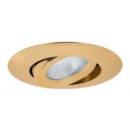 "5"" Recessed lighting polished brass adjustable gimbal trim"