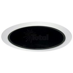 "6"" Recessed lighting A 19 specular black cone reflector white trim"
