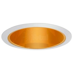 """6"""" Recessed lighting A 19 specular gold cone reflector white trim"""