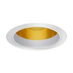 """6"""" Recessed lighting specular gold cone reflector white baffle white trim"""