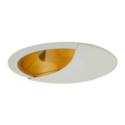 "6"" Recessed lighting A19 wall wash specular gold cone reflector white trim"