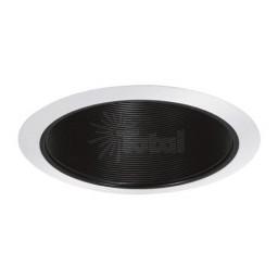"""6"""" Recessed lighting Par 30 R 30 black metal stepped stepped baffle white trim"""
