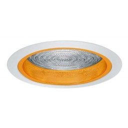 "6"" Recessed lighting fresnel lens specular gold reflector white trim"