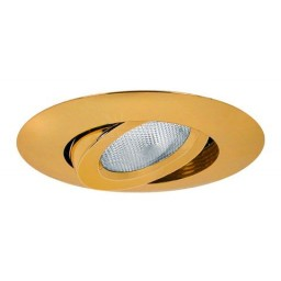 "6"" Recessed lighting slope polished brass gimbal ring trim"