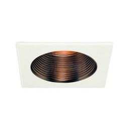 "6"" Recessed lighting copper stepped baffle white square trim"