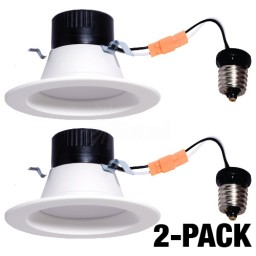 "Maximus LED 4"" recessed lighting downlight 10watt white reflector warm white 2700K dimmable 2-PACK"
