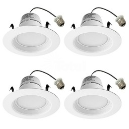 """CLEARANCE Maxxima LED 4"""" recessed lighting downlight 13watt white baffle trim natural white 4000K dimmable 4-PACK"""
