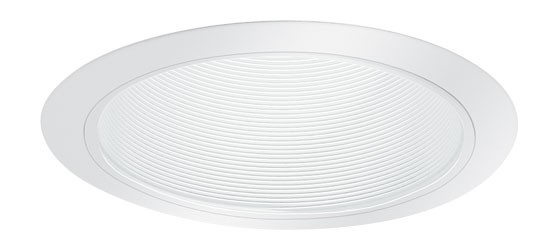 6 Quot White Metal Stepped Baffle White Trim Recessed Lighting