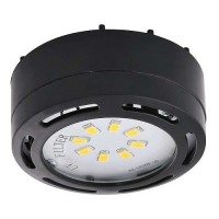 LED black puck light 4watt 120volt recessed or surface mount under cabinet lighting dimmable linkable warm white