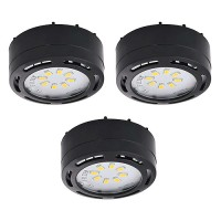 LED black 3 puck light kit 120volt recessed or surface mount under cabinet lighting dimmable linkable warm white