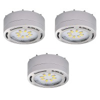 LED satin nickel 3 puck light kit 120volt recessed or surface mount under cabinet lighting dimmable linkable warm white