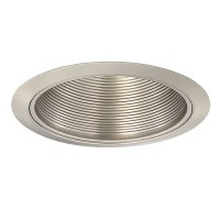 "6"" Recessed lighting air tight satin nickel baffle satin trim"