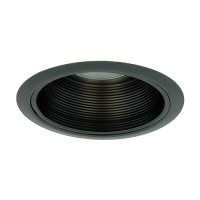 "6"" Recessed lighting Par 30 R 30 black all metal stepped baffle black trim"