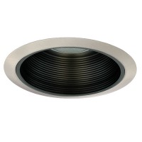 "6"" Recessed lighting Par 30 R 30 black metal stepped baffle satin trim kitchen light"