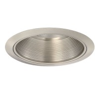 "6"" Recessed lighting Par 38 R 40 satin metal stepped baffle satin trim"