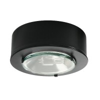 LED egressed glass lens black puck light 12volt at 2watts for low voltage recessed or surface mount under cabinet lighting