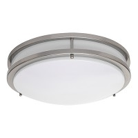 "LED 17"" two ring satin nickel ceiling surface light flush mount warm white 3000K dimmable LED-JR003NKL"